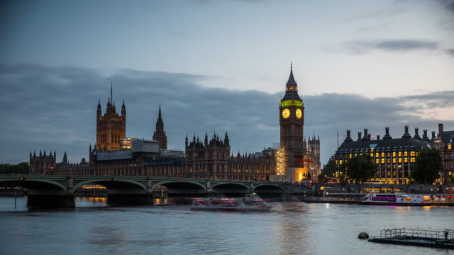 Big Ben and the Parliament in London - Day to Night Time Lapse