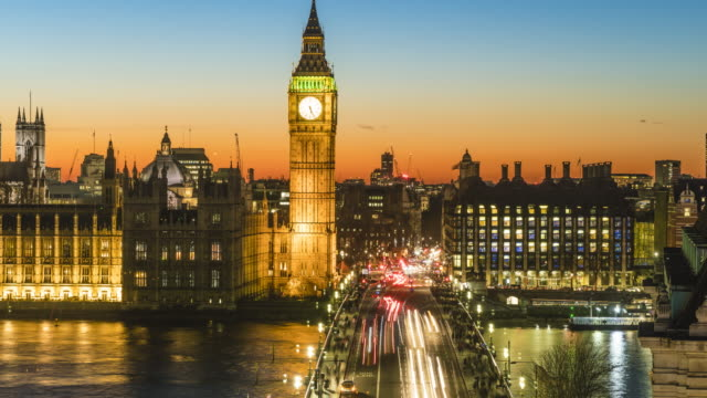 big ben and westminster bridge, day to night time lapse, london, england, united kingdom - unesco world heritage site stock videos & royalty-free footage