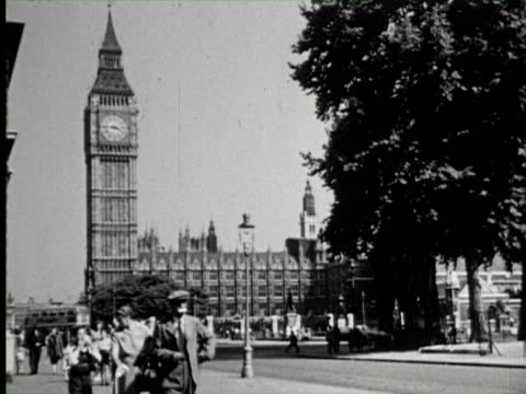 b/w ws cu of big ben clock, england / audio - 1950 stock videos & royalty-free footage