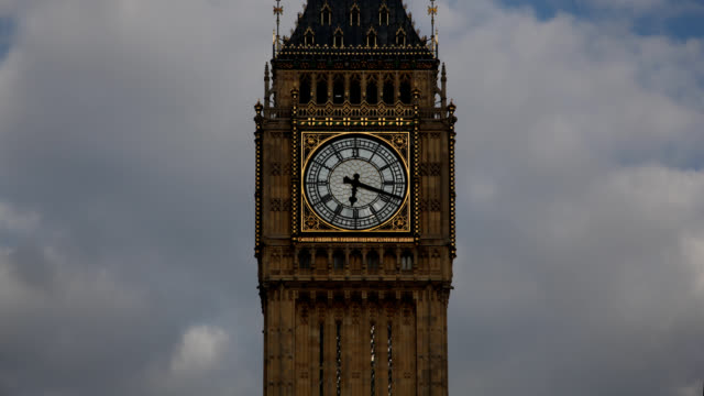 big ben clock face wide shot time lapse - clock tower stock videos & royalty-free footage