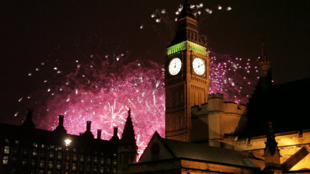 Big Ben Clocktower & New Year Fireworks Display, Westminster, London, England, United Kingdom
