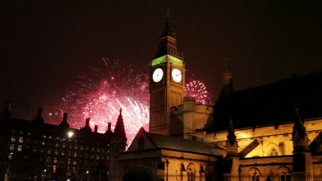 big ben clocktower & new year fireworks display, westminster, london, england, united kingdom  - 2014 stock videos and b-roll footage