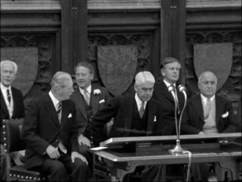london westminster new palace yard audience pan to dais ms hugh gaitskell harold macmillan and jo grimond and others seated bv audience ms william... - house of commons stock videos & royalty-free footage