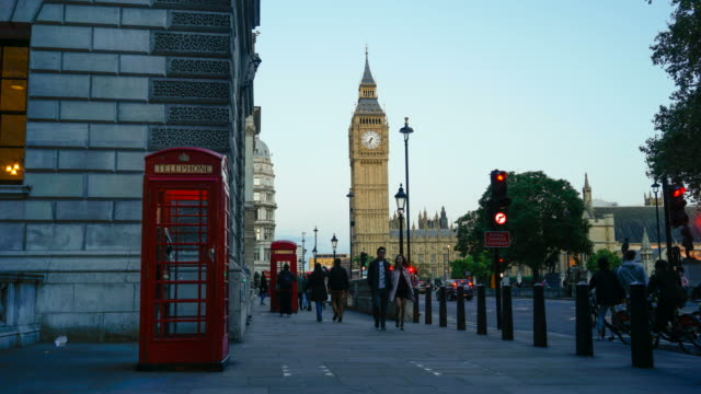 4k big ben, telephone booth and westminster abbey in london, uk - telephone booth stock videos & royalty-free footage