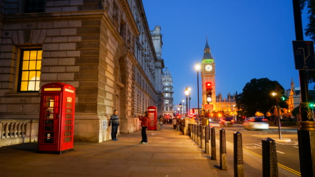 4K Big Ben, telephone booth and Westminster abbey in London, UK