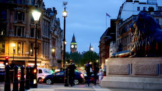 big ben & trafalgar square in london, uk - trafalgar square stock videos & royalty-free footage