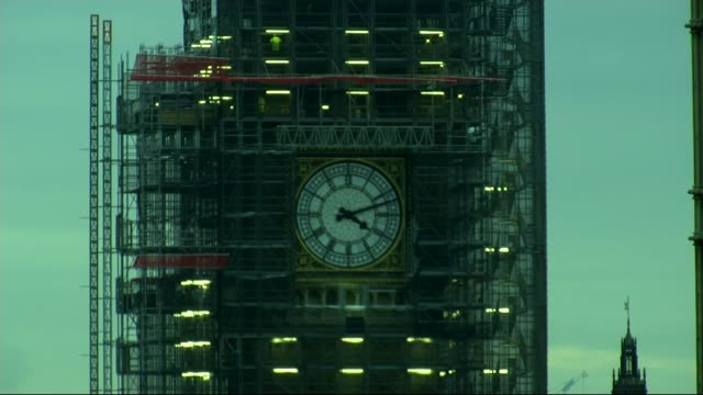 Big Ben's south dial correct after running 20 minutes slow ENGLAND London Westminster Houses of Parliament EXT Clock on Big Ben being adjusted