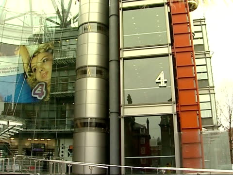 'big brother' programme racist bullying claims: blair and brown comments / indian protests; channel 4 headquarters building - grande fratello video stock e b–roll