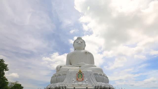 big buddha statue was built on a high hilltop of phuket thailand, time lapse. - buddha stock videos & royalty-free footage
