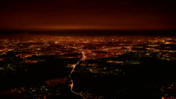Big City at Night Aerial View, Moscow, Russia