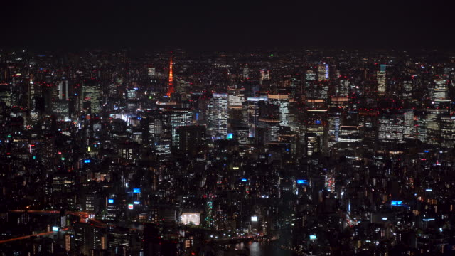 big city at night, panoramic view from above - urban sprawl stock videos & royalty-free footage