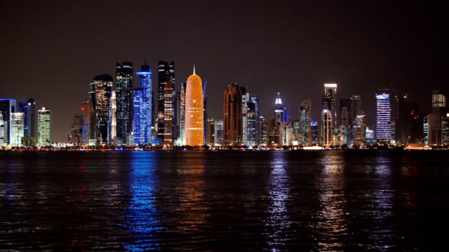 big city reflected in water - qatar stock videos & royalty-free footage
