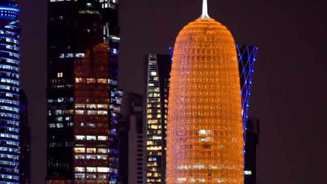 big city skylines at night - qatar stock videos & royalty-free footage