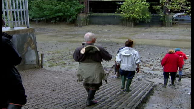 brentford residents clean up litter from thames england london brentford ext people wearing wellington boots and rain macs along down slipway to... - riverbed stock videos & royalty-free footage