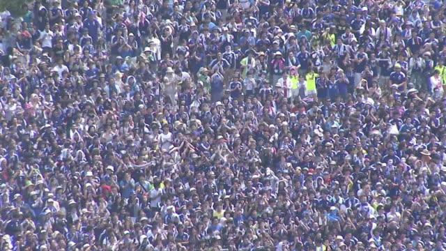 big crowd watching 'fifa world cup', kochi, japan - 興奮点の映像素材/bロール