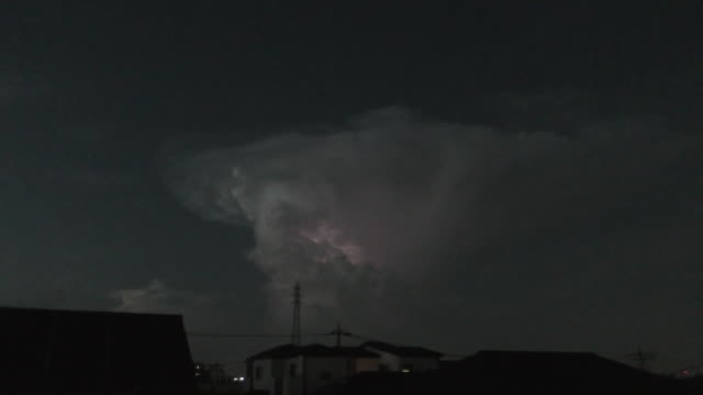 a big cumulonimbus cloud came to near north of tokyo on august 26th evening a big cumulonimbus cloud and lightnings are visible from saitama city the... - saitama city stock videos & royalty-free footage