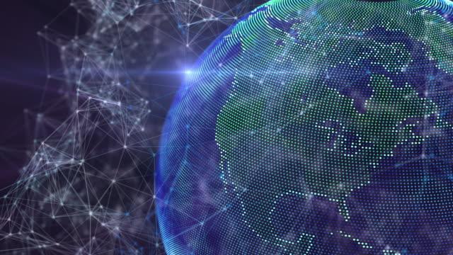 vídeos de stock, filmes e b-roll de laço grande do globo da terra dos dados com aura - estratégia