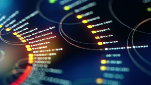 big data technologies. futuristic interface on digital monitor - blockchain stock videos & royalty-free footage
