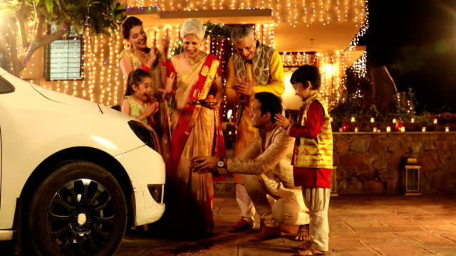 Big family buying new car in diwali festival, Delhi, India