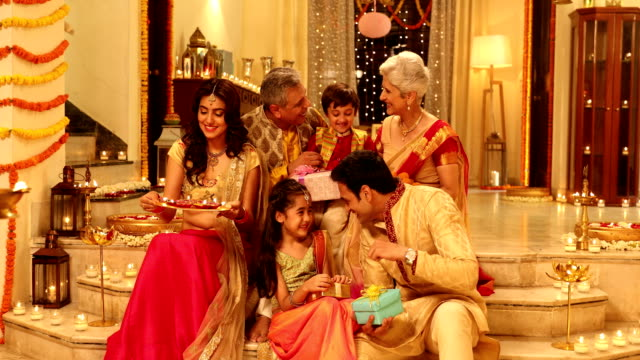 big family celebrating diwali festival, delhi, india - indian ethnicity stock videos & royalty-free footage