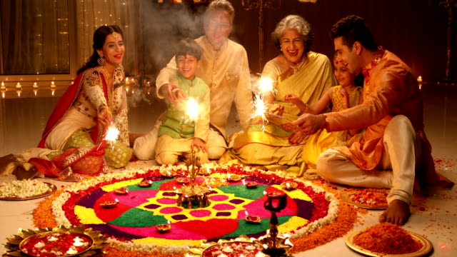 Big family celebrating diwali festival, Delhi, India