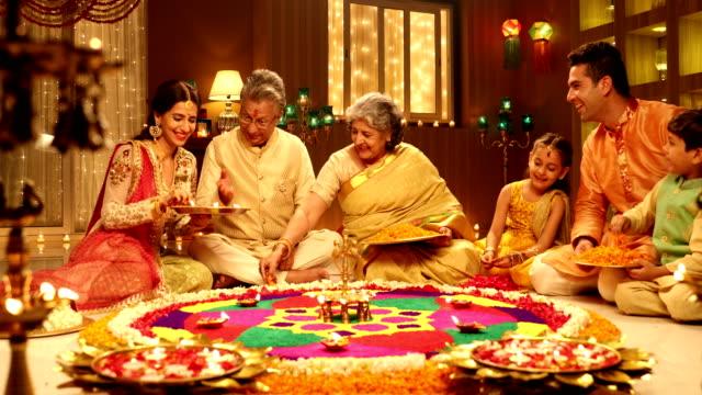 big family celebrating diwali festival, delhi, india - indian family stock videos & royalty-free footage