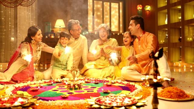 big family celebrating diwali festival, delhi, india - two parents stock videos & royalty-free footage