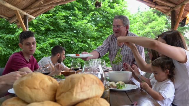 big family enjoying in conversation during lunch time - tipo di cibo video stock e b–roll