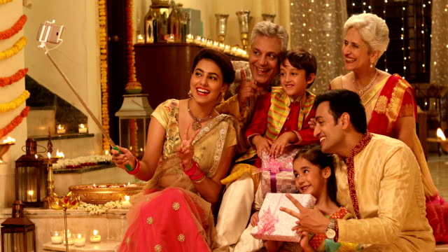 big family taking selfie in diwali festival, delhi, india - indian subcontinent ethnicity stock videos & royalty-free footage
