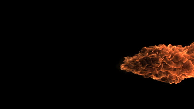 Big fire ball moving in slowmotion across screen