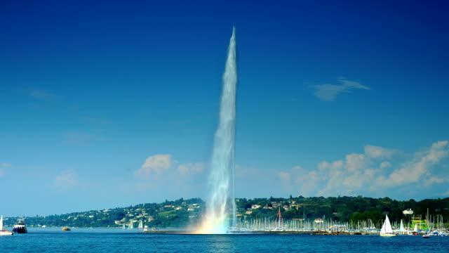 Big fountain of lake Geneva and rainbow
