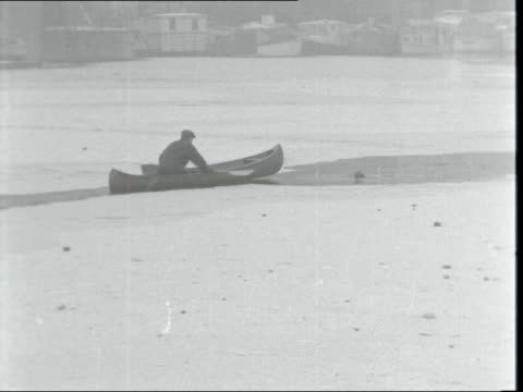 vídeos de stock e filmes b-roll de dog rescued from icy river thames a 645pm also shown @ 725pm england london little venice gvs canal boats on frozen canal person letting cat out of... - peter snow