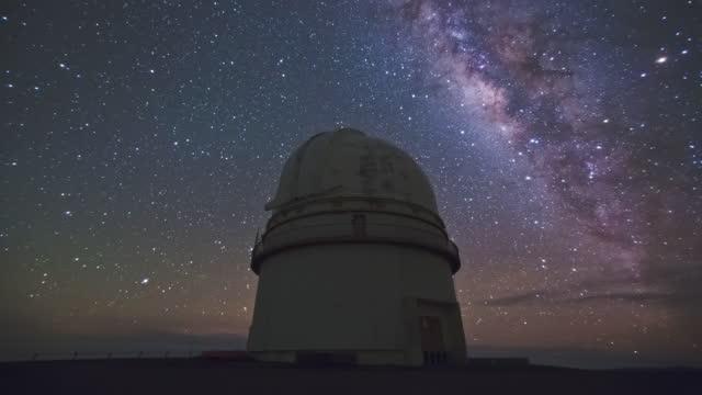 big island - night sky in mauna kea observatory at mauna kea mountain / hawaii, united states - optical equipment stock videos & royalty-free footage