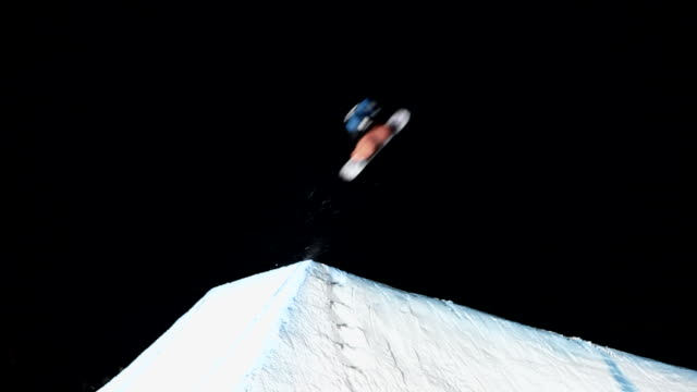 big jump in the dark - snowboarding stock videos & royalty-free footage