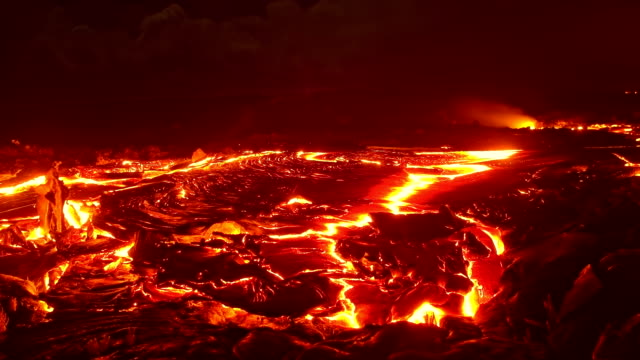 big lava flow timelapse 1 night glowing hot flow from kilauea active volcano puu oo vent active volcano magma - lava stock videos & royalty-free footage