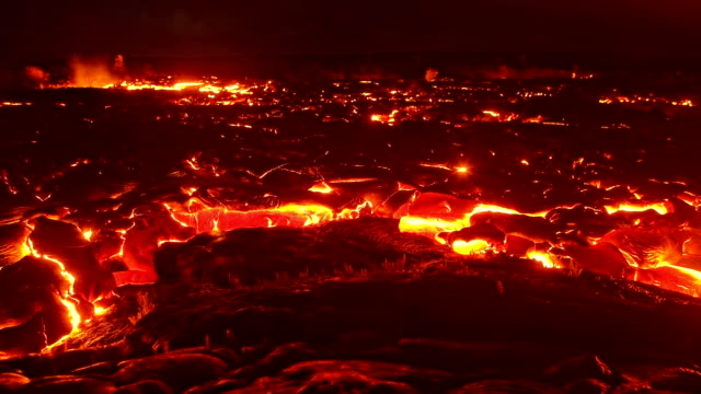 big lava flow timelapse 3 night glowing hot flow from kilauea active volcano puu oo vent active volcano magma - lava stock videos & royalty-free footage