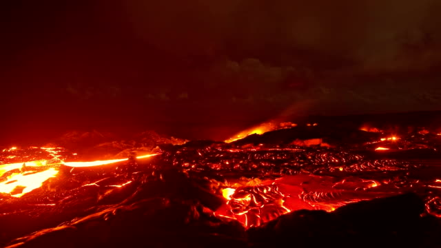 Big lava flow timelapse 4 Night Glowing Hot flow from Kilauea Active Volcano Puu Oo Vent Active Volcano Magma