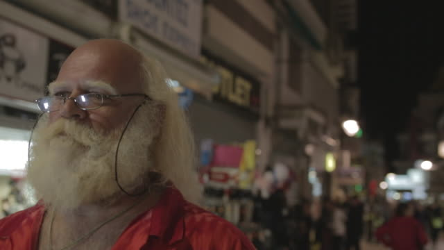 ecu big man w/ white long hair (santa claus), beard and moustache, w/ glasses - white hair stock videos & royalty-free footage