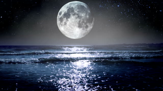 Big Moon over the Sea. HD