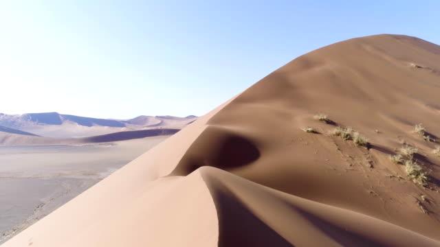 vídeos de stock, filmes e b-roll de grande duna de namíbia. vista aérea - reserva animal