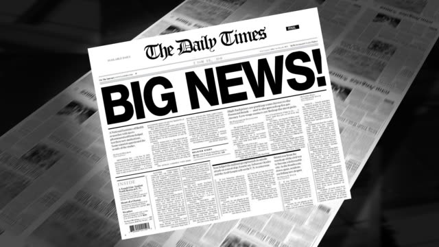 big news! - newspaper headline (intro + loops) - announcement message stock videos & royalty-free footage