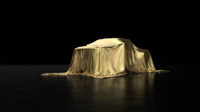 big pickup truck covered in gold cloth. - launch event stock videos & royalty-free footage