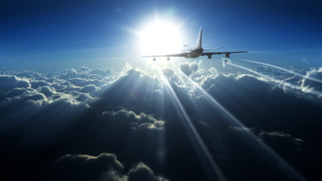 big plane above the clouds - commercial aircraft stock videos & royalty-free footage
