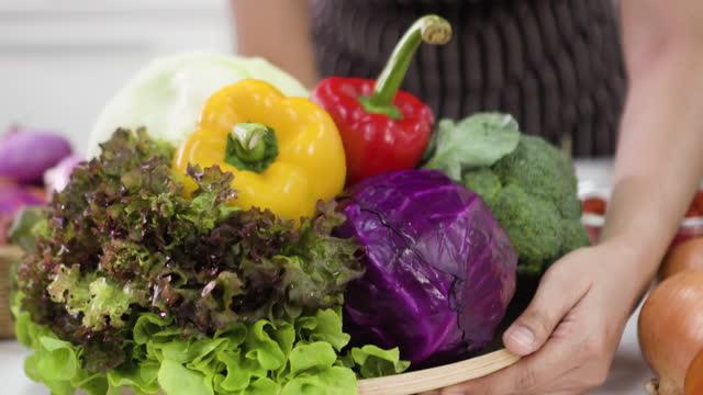 big plate vegetable - beta carotene stock videos & royalty-free footage
