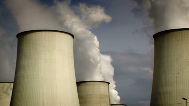 big power plant, air pollution - zoom - nuclear power station stock videos & royalty-free footage