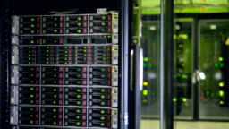 Big server racks at modern data center. Internet technology concept. 4K.