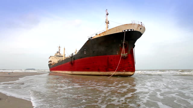 big ship aground on beach