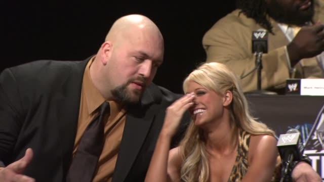 Big Show and WWE Diva Kelly Kelly at the WrestleMania 25th Anniversary Press Conference at New York NY