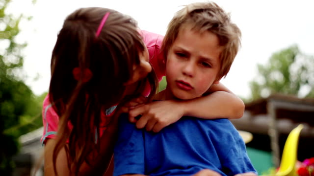 big sister comforting her little brother - sister stock videos & royalty-free footage