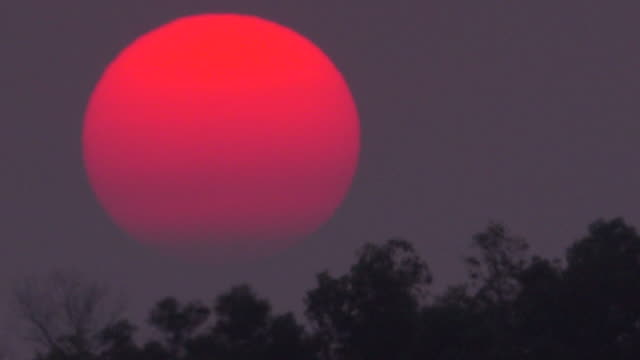 big sunset on dusty sky - sezione superiore video stock e b–roll